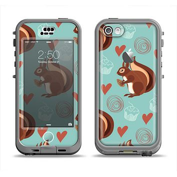 The Vector Love & Nuts Squirrel Apple iPhone 5c LifeProof Nuud Case Skin Set