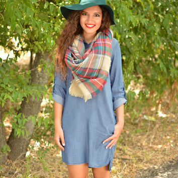 Denim Roll-Up Sleeve Shift Dress