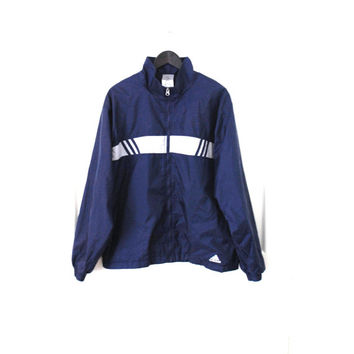 vtg ADIDAS windbreaker early 90s vintage navy + white classic relaxed fit UNISEX light athletic jacket medium