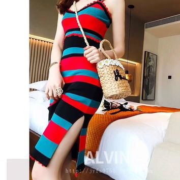 HCXX 19July 774 Valentino Ladies Knitted Sleeveless Striped Sling Dress one size