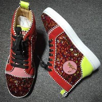 Cl Christian Louboutin Rhinestone Style #1952 Sneakers Fashion Shoes