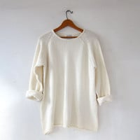 vintage natural white sweater. loose knit sweater. oversized sweater. preppy cotton knit sweater
