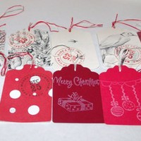 Butterflies In The Attic: 10 Christmas Gift Tags - Upcycled Books - Hand Stamped DieCut - Gift Wrap REFNO.11.13.23