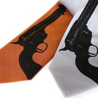 Aw Shoot tie Silkscreen pistol necktie Black ink on by Cyberoptix