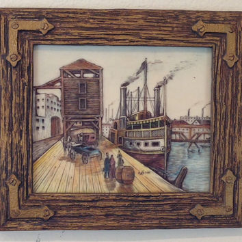 Steam Boat on the Dock Hand Painted Artini 4D Artwork- Vintage 1960's
