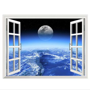 New 3D Window Outer Space Large Planet Wall Stickers for Kids Rooms Galaxy Wall Decal Mural Home Decor Gift For Children Poster