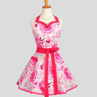 Sweetheart Retro Apron - Sexy Flirty Apron in Spring Raspberry Pink Floral Cute Full Womens Kitchen Apron