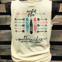 Southern Chics Comfort Colors Wild & Free Arrows Feathers Girlie Bright T Shirt Tank Top