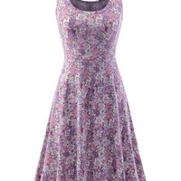 Purple Floral Flared Sleeveless Dresses Lovely Womens Clothing Summer