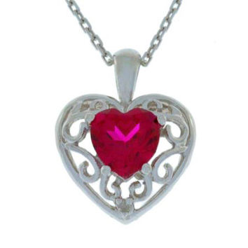 1 Ct Ruby & Diamond Heart LOVE ENGRAVED Pendant .925 Sterling Silver Rhodium Finish