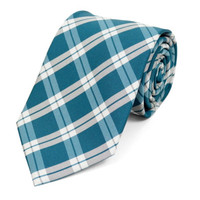Boatwright Teal Plaid Woven Tie