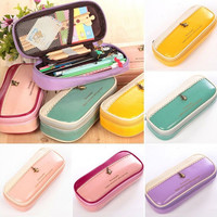 1 Pcs PU Pencil Pen Case Fashion Simple Pocket Cosmetic Makeup Bag Pouch Handbag