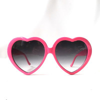 vintage 1980's hot pink heart sunglasses heart shaped plastic frames smoke gray charcoal gradient lenses fashion sun glasses retro women NOS