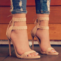 Summer Trendy Nude Suede Sandals Size 36-41 Women Ankle Strap Sandals Concise Classic High Heels Party Causal Shoes -5