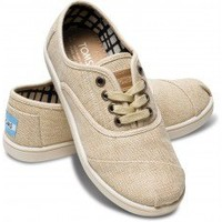 TOMS Shoes Natural Burlap Cordones Lace-Up Sneakers Shoes