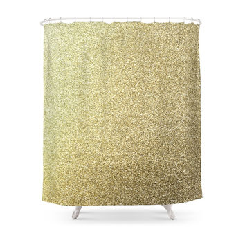 Society6 Gold Glitter Shower Curtains