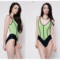 90's Neon Striped Swimsuit
