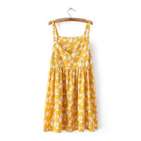 Summer Floral Print Cotton Linen Spaghetti Strap Dolls Dress [8173591943]