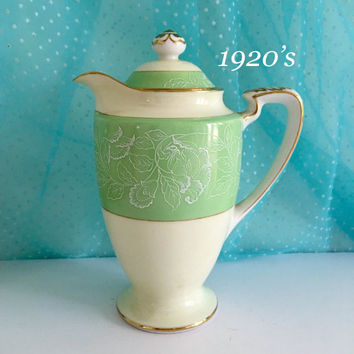 Antique 1920's Creamer, Noritake China Japan Shabby Chic China Decor, Milk Pitcher, Vintage Kitchen Decor, Mint Green Christmas Gift for Mom