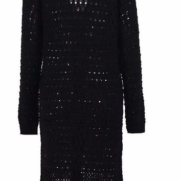Women's Elegant Long Cable Knit Black Duster Sweater Jacket