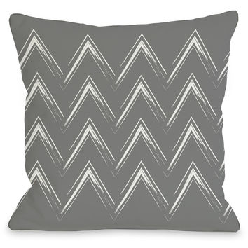 """Sabrina Brush Chevron"" Indoor Throw Pillow by OneBellaCasa, Gray, 16""x16"""