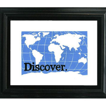 LINOCUT PRINT - Sky Blue World Map Discover Travel the World - 9x12