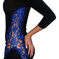 Articulate (Black/Blue)-Great Glam is the web's top online shop for trendy clubbin styles, fashionable party dress and bar wear, super hot clubbing clothing, stylish going out shirt, partying clothes, super cute and sexy club fashions, halter and tube top