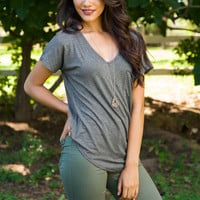 Nina Basic Top - Grey