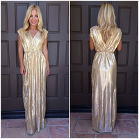 Illuminated Luxe Maxi Dress - GOLD