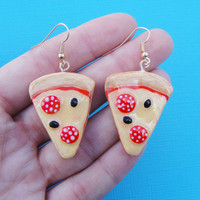 Pizza earrings - Quirky pizza slice earrings - ceramic pizza earring - pizza charm - kitsch clay jewelry - clay fake food clay food