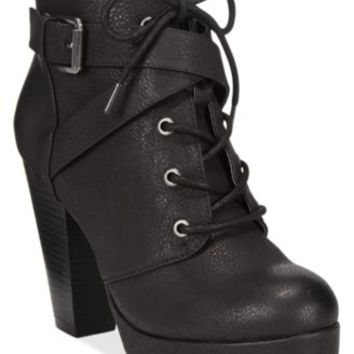 Material Girl Rhodes Lace-Up Platform Booties, Only at Macy's | macys.com