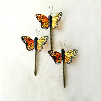 Butterfly Hair Clips, Monarch Butterfly Bobby Pin Set. Summer Orange Butterflies. Rustic Bridal Hair Accessories. 3 Bobby Pin Clips