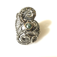Statement Jewelry, Wearable Art Jewelry, Wire Wrapped Jewelry Handmade, Emerald Ring, Sterling Silver and 14k gold Ring, Size 6.5 Ring, Wire