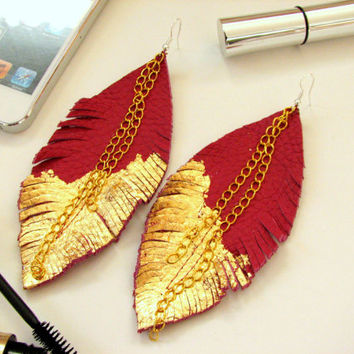 Feather Earrings - Leather Feather Jewelry, Leather Earrings, fuchsia leather
