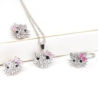 niceEshop(TM) Silver Kitty Rhinestone Crystal Fashion Jewelry Set with Pink Bow - Ring+Earrings+Necklace 3 in 1 Set