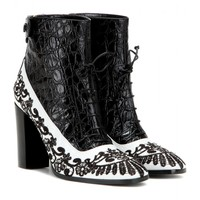 Embroidered embossed leather ankle boots