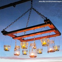 Mason Jar Chandelier Candles Lanterns Luminaries by treasureagain