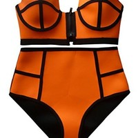 Plus Size Neoprene Bikini Bandeau Zipper Top High Waist Bottom Swimsuit Bathing Suit (Orange, Small (US 2))