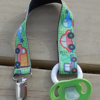Pacifier Holder, Vehicles Pacifier Clip, Cars and Trucks Pacifier Holder, Helicopter Binky Clip, Little Boys  Pacifier Clip or Toy Clip