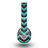 The Turquoise-Black-Gray Chevron Pattern Skin for the Beats by Dre Original Solo-Solo HD Headphones