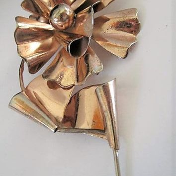 Mexico Silver Brooch Flower 3D 800 with Gold Overlay Mexico Vintage Flower Pin