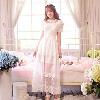 Princess sweet lolita dress Candy rain Summer Japanese style sweet Restoring ancient ways lace chiffon Long dress C15AB5760