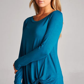 DARK TEAL twisted knotted front top/tunic, adorable, these tops are so fun and versatile