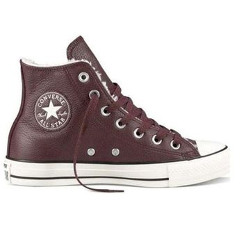 CREYONIG Converse All-Star Chuck Taylor - Burgundy Leather Lace-Up Sneaker 2bf3a1588