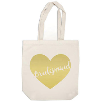 bridesmaid gift bag - metallic gold heart bag - wedding calligraphy bridesmaid canvas tote bag