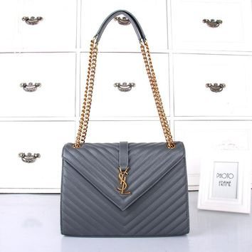 """Yves Saint Laurent YSL"" Women Envelope Bag Simple Fashion All-match Metal Chain Single Shoulder Messenger Bag"