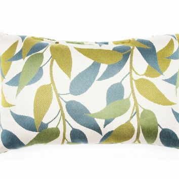 "Set of 2 blue and green leaf print 14"" x 22"" throw pillows . Made in the USA with Brooks fabrics and measures 14"" x 22""."