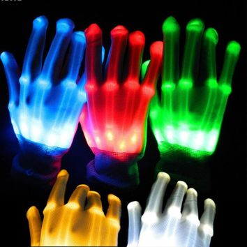 LED luminous gloves finger light gloves dancing club props light up toys glowing unique gloves glow colorful skeleton gloves A3