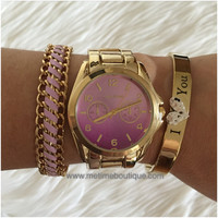Esme Ombre Gold Watch - Blue or Purple