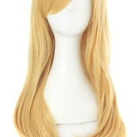 MapofBeauty 65cm Girls Long Anime Straight Cosplay Wig Party Wig (Blonde)